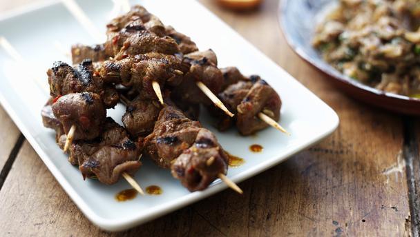 lams kebabs met honing en ui